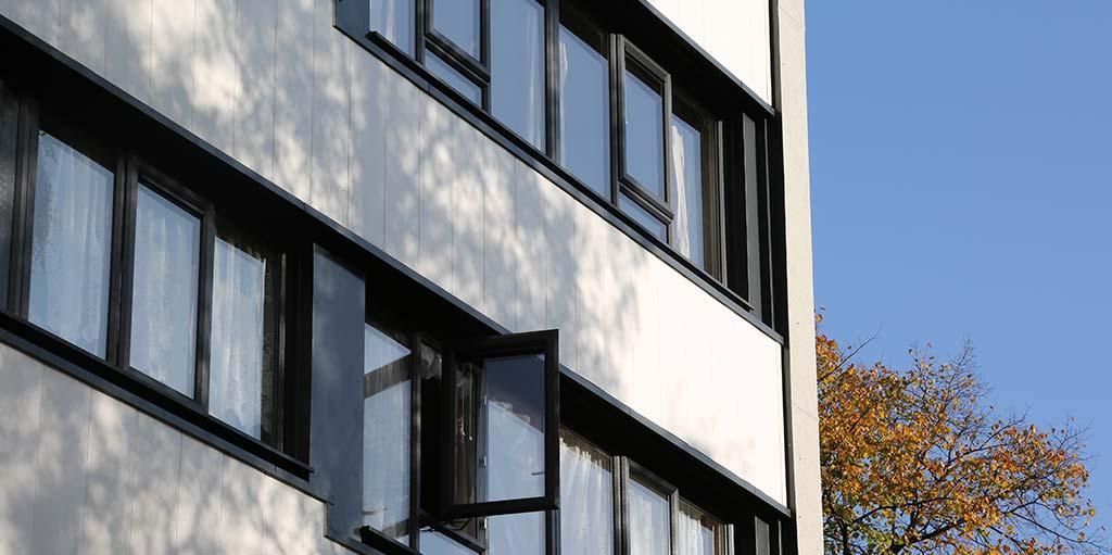 PVCu window profile with lead detail on glazing
