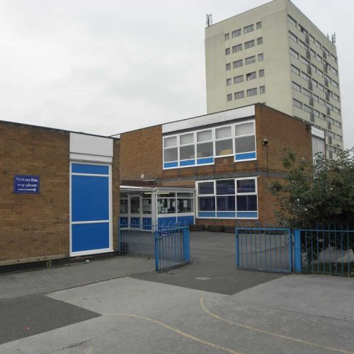 Chivenor Primary School entrance with new windows and doors