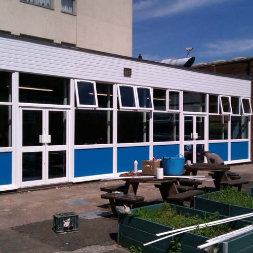 PVCu casement windows and automatic doors for Chivenor Primary School