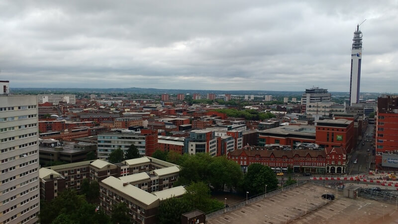Birmingham view from high up with BT tower