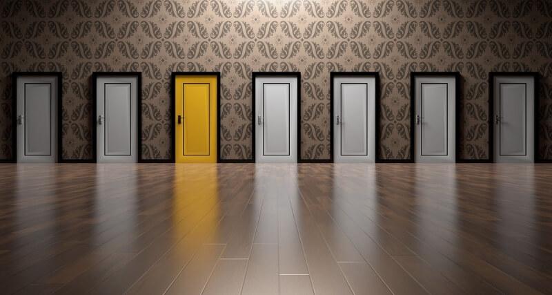 Door selection with one yellow door
