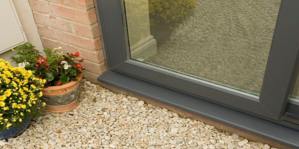 Grey uPVC sliding patio door