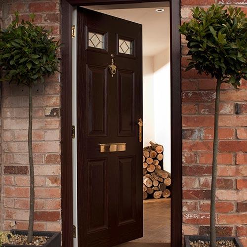 Black composite door with glass