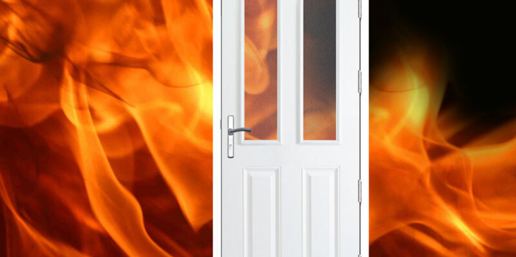 FIre door protecting house from flames.