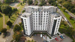 White tower block in Birmingham.