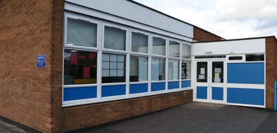New white windows on a school building